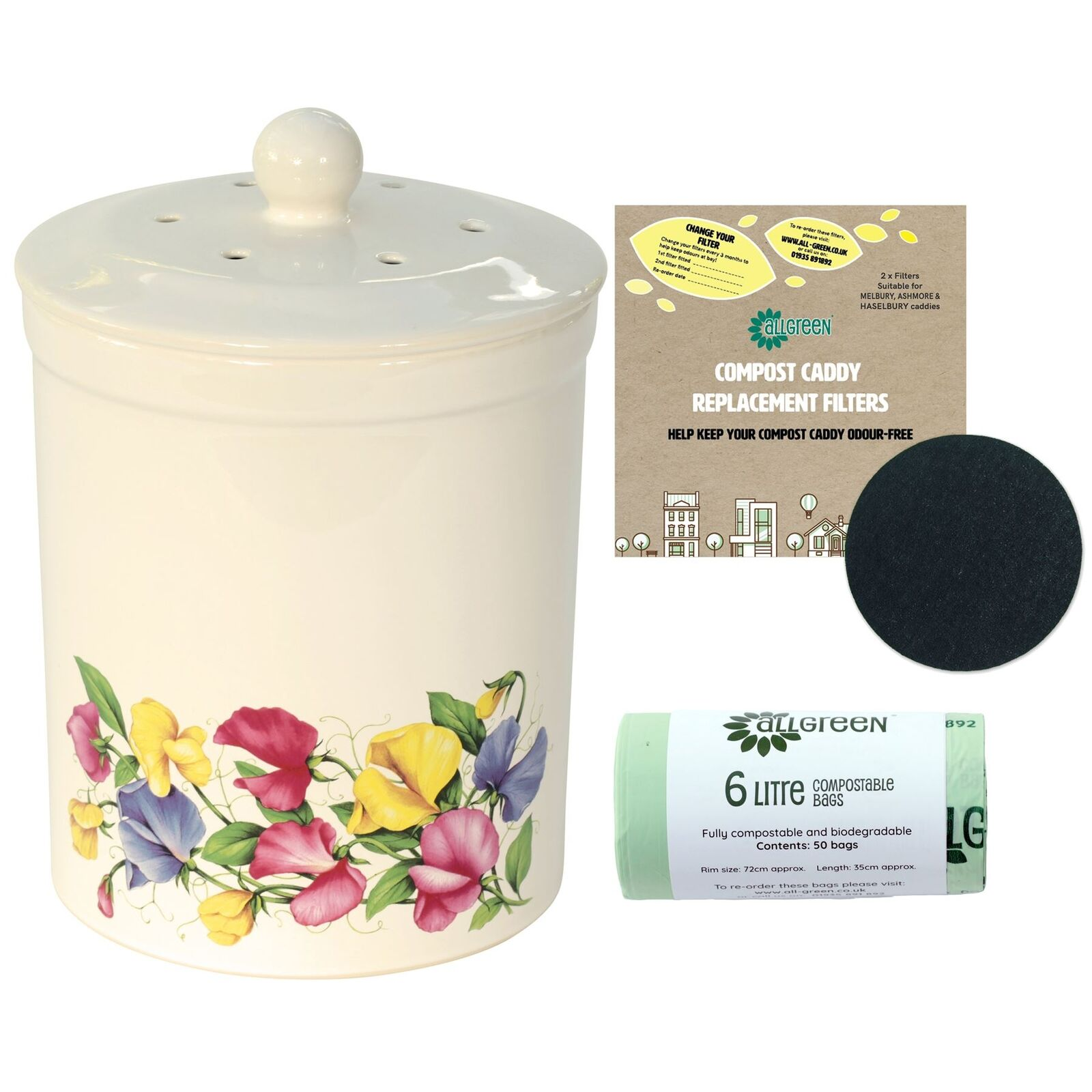 3L Ashmore Sweetpea Ceramic Compost Caddy, 2 Filters & 50x6L Compostable Bags