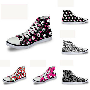 new concept daf7e 5ca75 Image is loading Skull-Womens-Girls-Lace-up-High-Top-Comfy-