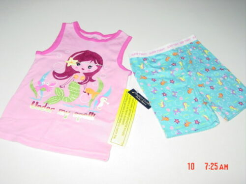 NWT Toddler Girls 2 piece Summer Pajama set Mermaid Fish Pink Glitter outfit