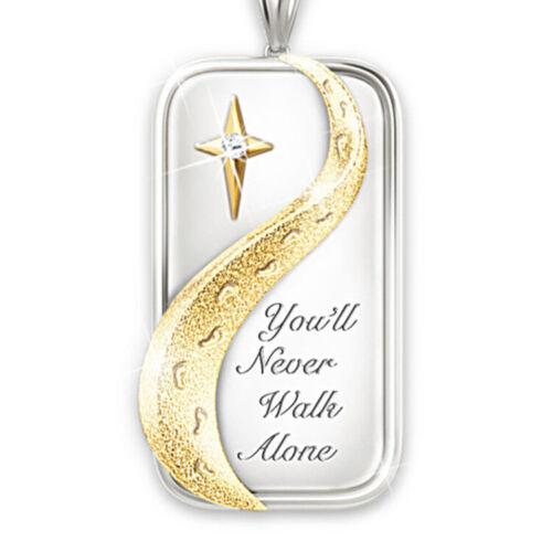 Argent 925 Deux Tons Blanc Topaze Émeraude Collier pendentif croix avec chaîne tour de cou