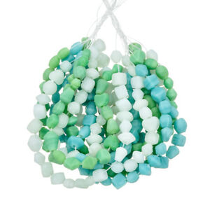 3-Strand-Turquoise-Green-amp-Clear-Matte-Glass-Chip-Beads-3-x-16-034-strands-E62