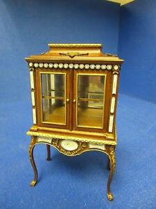 Quality-12th-Dolls-House-Furniture-Glass-Display-Cabinet-Walnut-JaiYi-8103-02