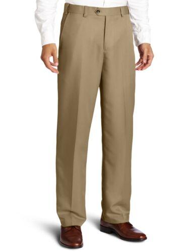 Geoffrey Beene Men/'s Flat Front Classic Dress Pants Khaki Sizes 36 38 40