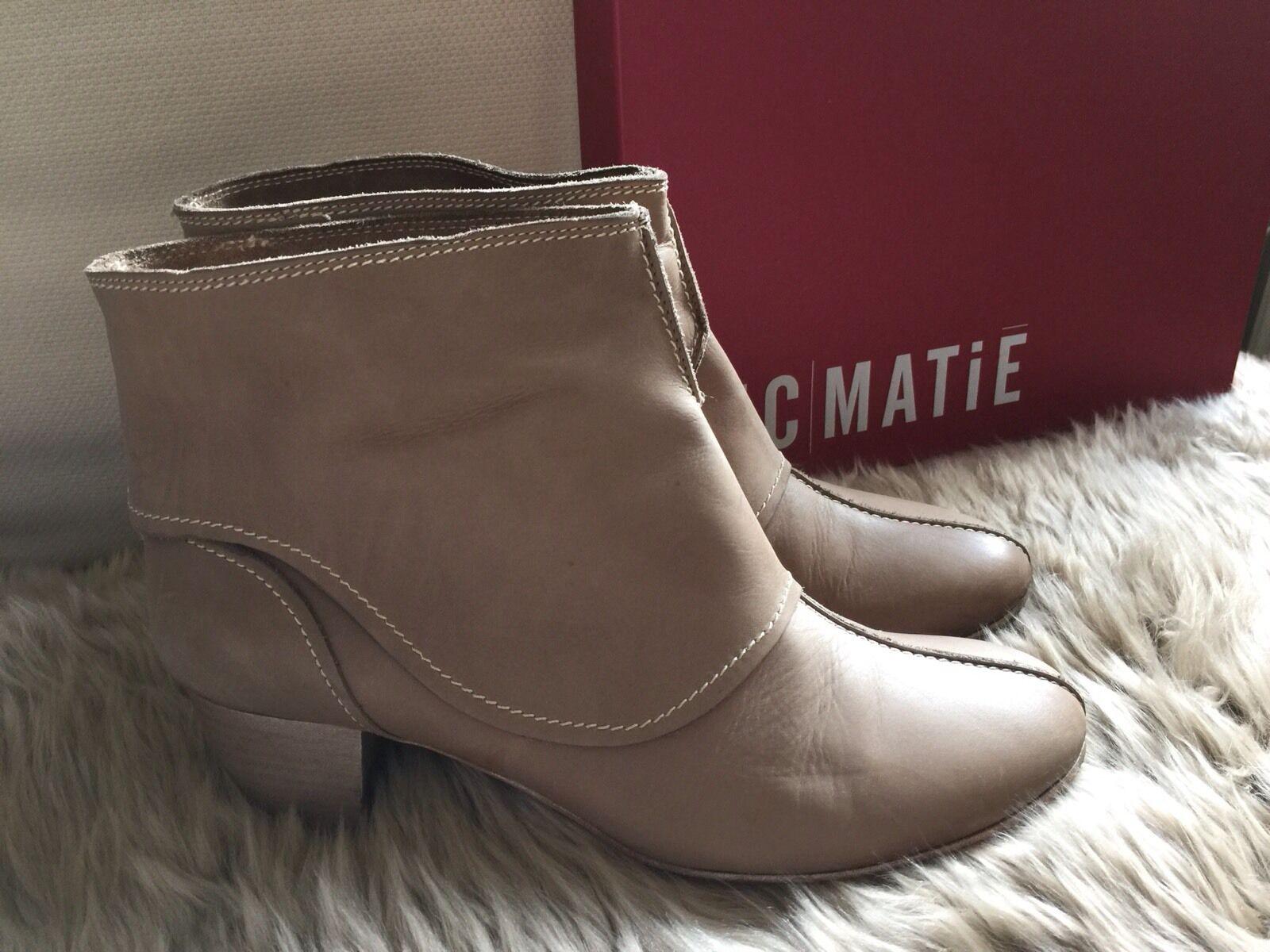 ViC MATiE Stiefeletten Leder Umschlag Ankle Stiefel Booties Vintage Stone Beige