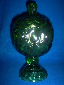 Vintage LE Smith Depression Green Moon and Stars Candy Dish with Lid