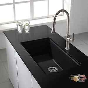 Image Is Loading   Black Granite Kitchen Sink Undermount Single