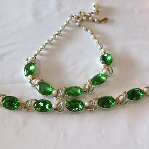 Vintage-Demi-Green-Glass-Faux-Pearl-Necklace-Bracelet-REPAIR-CRAFT