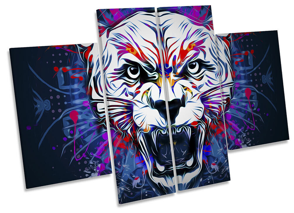 Tiger Face Explosion Picture CANVAS WALL ART Four Panel Multi-Colourot