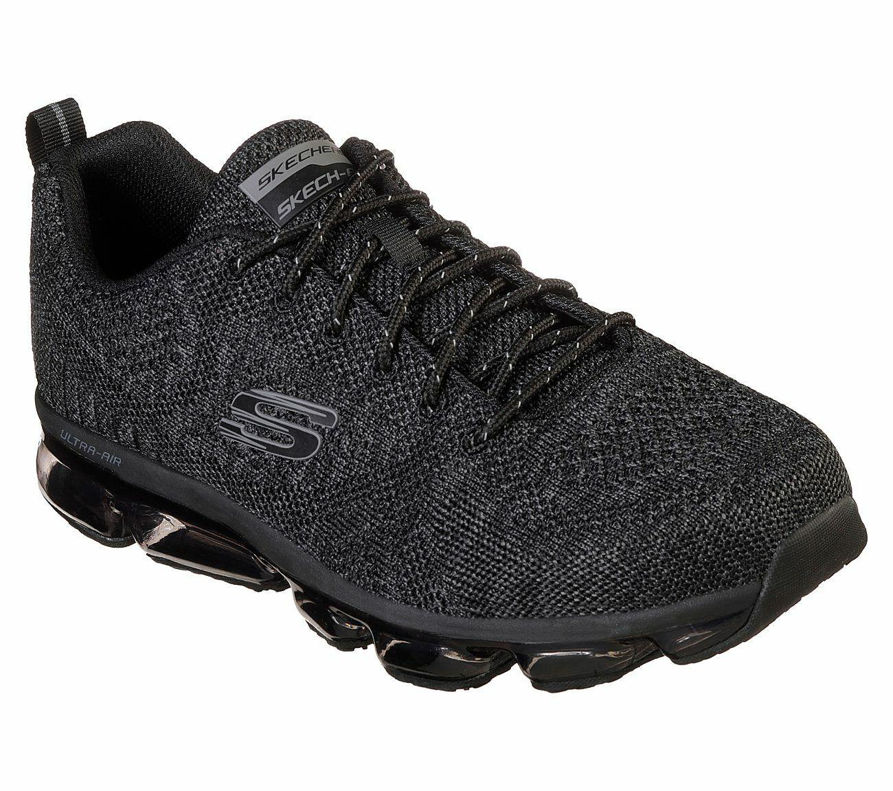 Skechers Negro Zapatos Hombres Memoria Foam Encaje De Malla De Punto Deportivo Air Athletic 52973