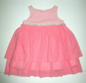 INFANT-GIRLS-HANNA-ANDERSSON-PINK-amp-SILVER-BELT-TULLE-TANK-DRESS-SIZE-3-6-MONTHS