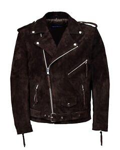 Heren biker bruin echt klassiek suede Nieuwe stijlvolle mode jas Brando R5j4L3A