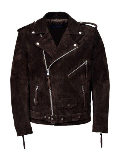 para hombre piel la estilo clásica nueva de con marrón de gamuza color moda de auténtica Chaqueta Biker de qAwXZOX7