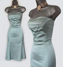KAREN MILLEN Light Blue Satin Vintage Style Corset Cocktail Dress UK10   38