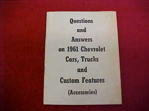 CORVETTE FEATURES 1961 BOOKLET TRUCK A CHEVROLET 61 ACCESSORIES CAR Q ACCESSORY q6AAFExf8w