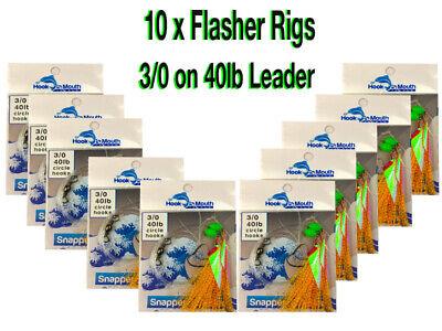 Paternoster 40lb 3//0 Hooks Flathead 10 Orange Snapper Rigs Flasher Fishing Rig