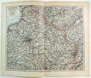 Original Map of Northerneastern France 1900 by Meyers
