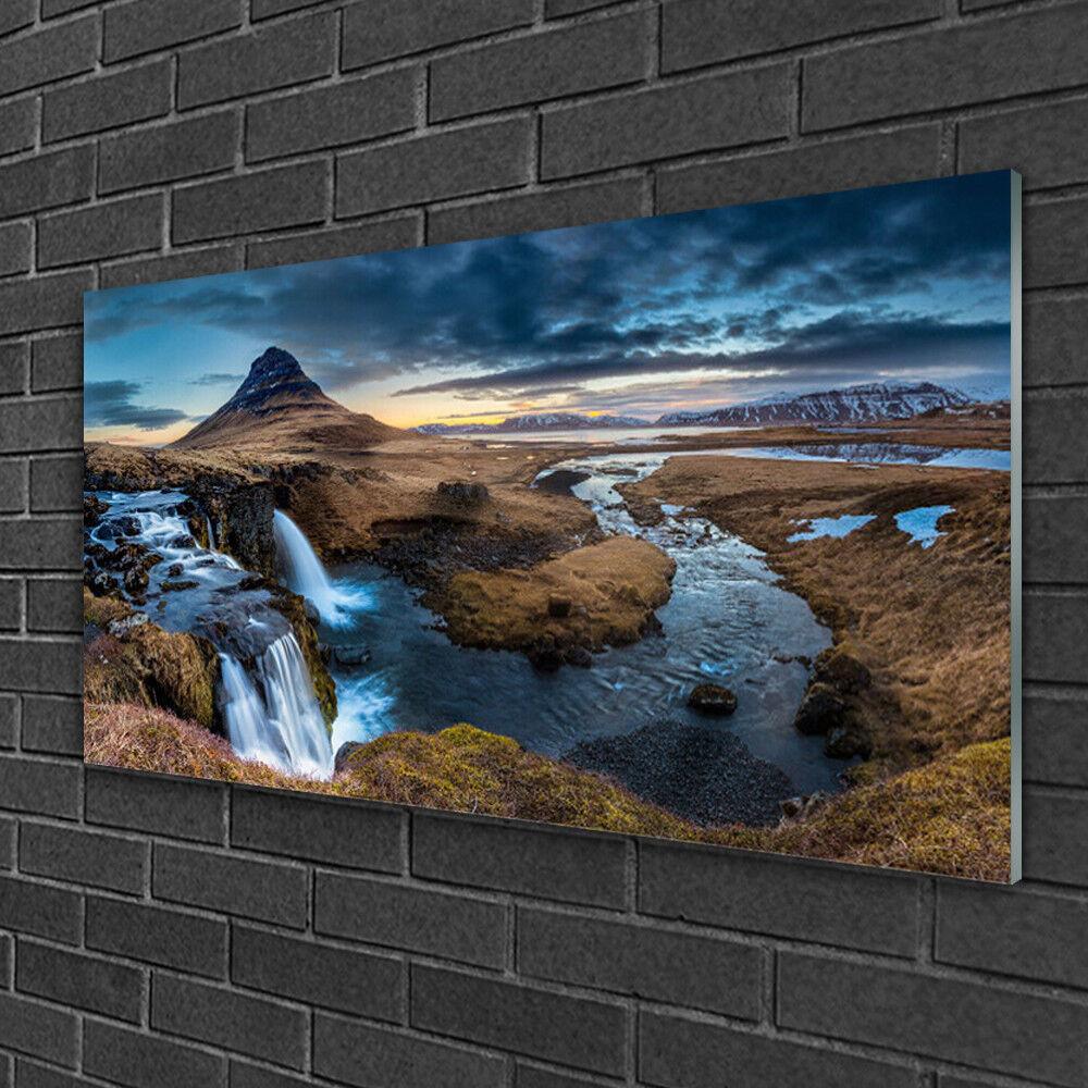 Image sur verre Tableau Impression 100x50 Paysage Montagne Cascade