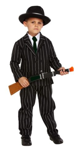 BOYS BLACK GANGSTER OUTFIT FANCY DRESS BOOK DAY COSTUME AGE 4-12 YRS CHILDRENS