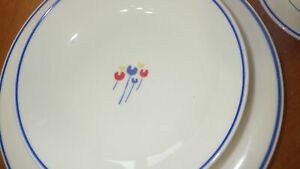 Riva Designs Tulips China Dinnerware Set Primary colors on White service for 4