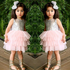 Kids Baby Girl Sequin Tutu Dress Bow Backless Formal Prom Party Bridesmaid Dress