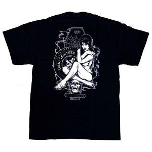 Lucky-13-Goth-Rockabilly-Pin-Up-Girl-Miss-Trust-Mens-Black-T-Shirt-Size-XXL-2XL