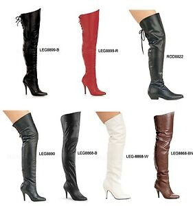 Pleaser-LEGEND-8868-8890-8899-RODEO-8822-Sexy-Leather-Thigh-High-Boots