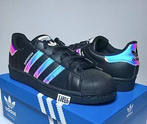 Details about Adidas Superstar J Junior Black Iridescent Hologram CQ0746 Boys Girls Shell Toe