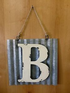 Details About 10 Corrugated Industrial Metal Sign Letter B White Vintage Rustic Wall Decor