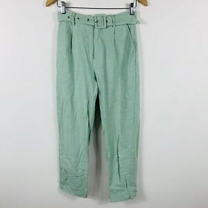 Perfect-Stranger-Linen-Taper-Pants-Size-6-Green-With-Belt-Good-Condition