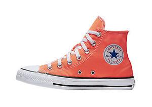 Converse Men Women All Start Low Hyper Neon Orange Hi Canvas AS Chuck Taylor