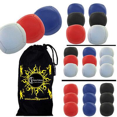 Pro 6 Panel Leather Juggling Ball Set /& Travel Bag! BLACK//BLUE Flames N Games ASTRIX UV Thud Juggling Balls set of 5