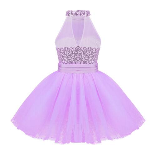 Kids Girls Sequins Turtle Neck Dance Dress Gymnastics Leotard Dancewear Costumes