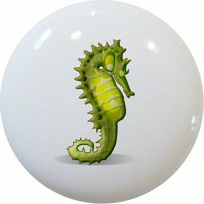 Green SEAHORSE CABINET DRAWER Pull KNOB Ceramic