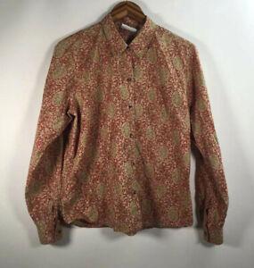 Liz-Clairbone-Women-s-Size-M-Long-Sleeve-Shirt-Button-Down-Floral-Paisley-Top