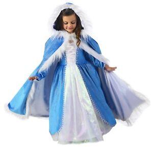 Child-Kids-Frozen-Ice-Princess-Blue-White-Faux-Fur-Elsa-Costume-Cloak-Cape-Hood