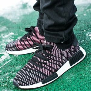 e3e117a4ed2d8 NEW Adidas NMD R1 STLT PK Mens Shoes Core Black Grey Solar Pink ...