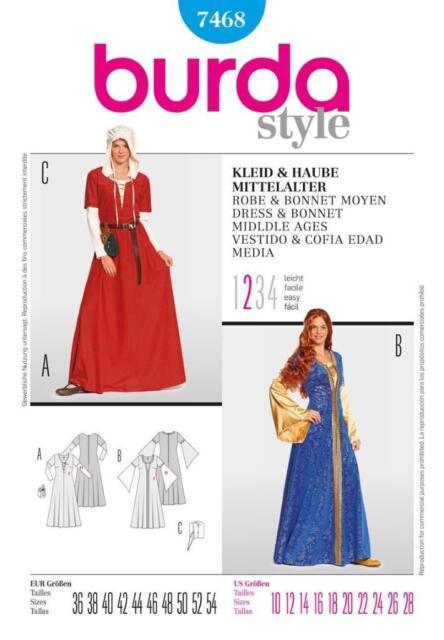 Burda B7468 Medieval Dress and Bonnet Sewing Pattern 19 X 13 Cm | eBay