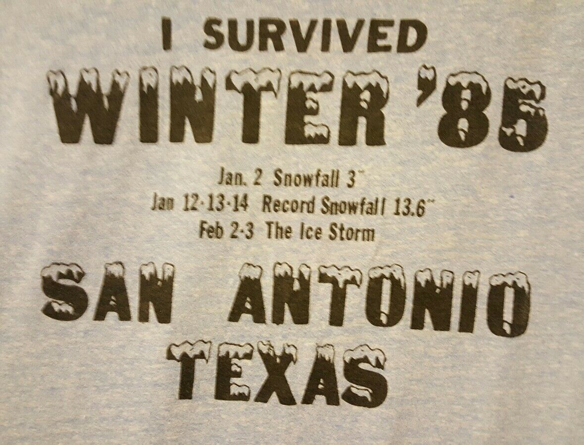 I Survived Winter '85 PRE-OWNED San Antonio, TX Größe Large T-Shirt