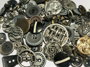 50-RARE-MIXED-LOT-Of-Metal-Buttons-OLD-VINTAGE-amp-NEW