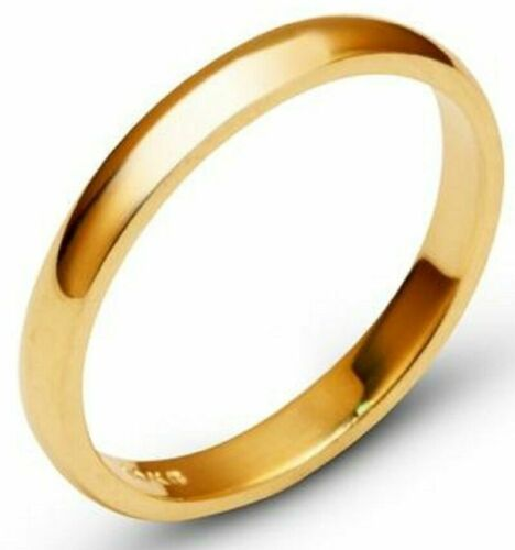 Solid 10k Yellow Gold 3mm Comfort Fit Men Women Wedding Band Ring Size 5-13