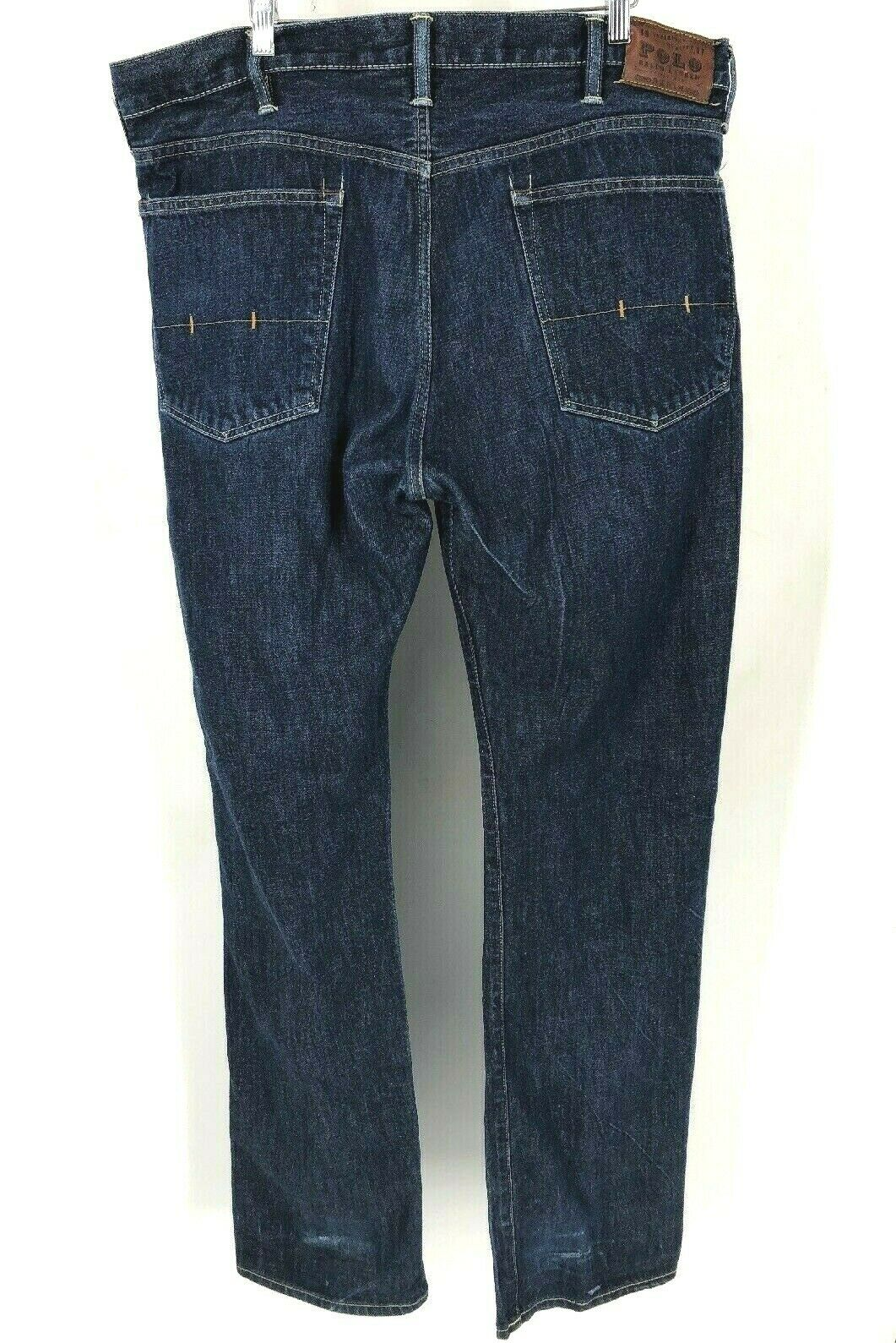 Polo ralph Lauren Mens Jeans 38 Tall Straight Leg Zipper Fly Riverside Wash (F9)