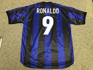 best service f54a1 9a8db Details about 1999 2000 Inter Milan Ronaldo Jersey Shirt Kit Nike XL Home  Blue 9 Vintage Rare