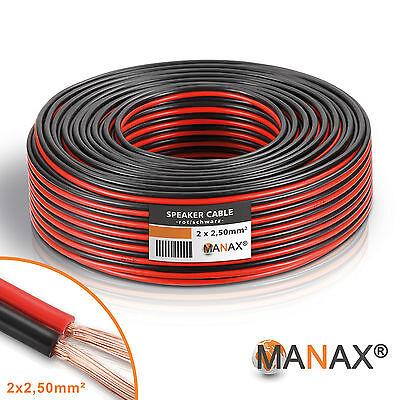 50m (2x 25m Ring) CCA Lautsprecherkabel 2x2,5mm² Lautsprecher-Kabel Boxenkabel