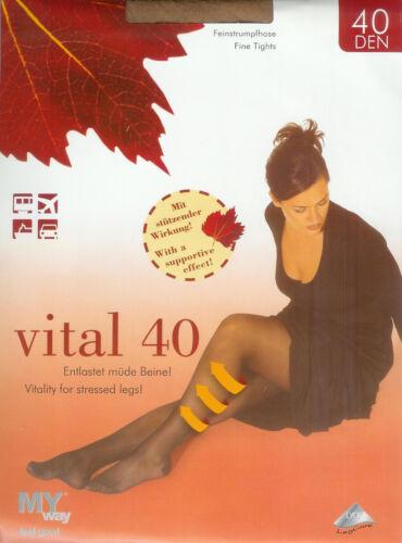 38-40  *MY way* 2 Strumpfhosen 40den entlastet müde Beine cashmere