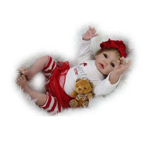 Newborn Reborn Dolls Silicone Vinyl Doll Preemie Baby Girl Dolls Gift 22-Inch