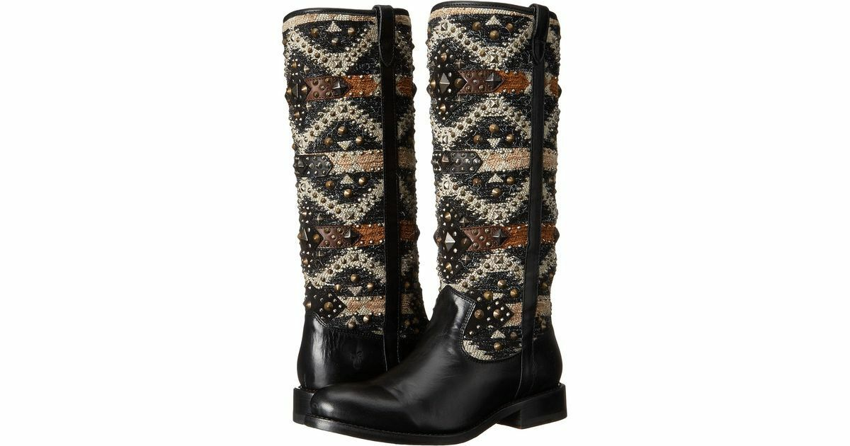 NEW IN BOX Frye Jayden Navajo Studded Tall Boots size 5.5 or 6 Leather Knit