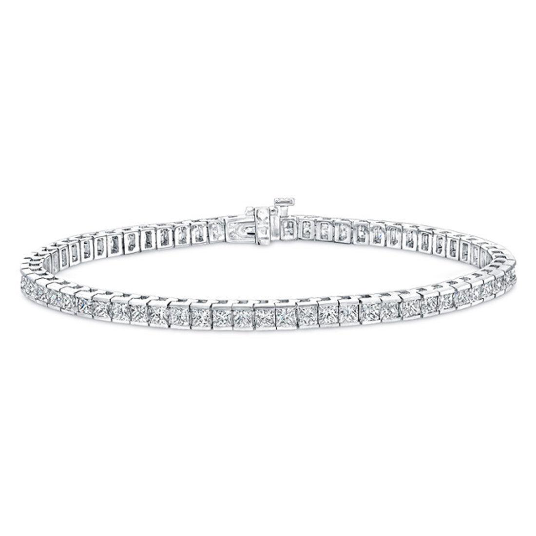 14kt H I SI1-SI2 6.00ct Princess Cut Diamond Tennis Bracelet