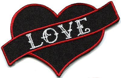 Love heart tattoo biker hippie boho retro fun applique iron-on patch new G-139