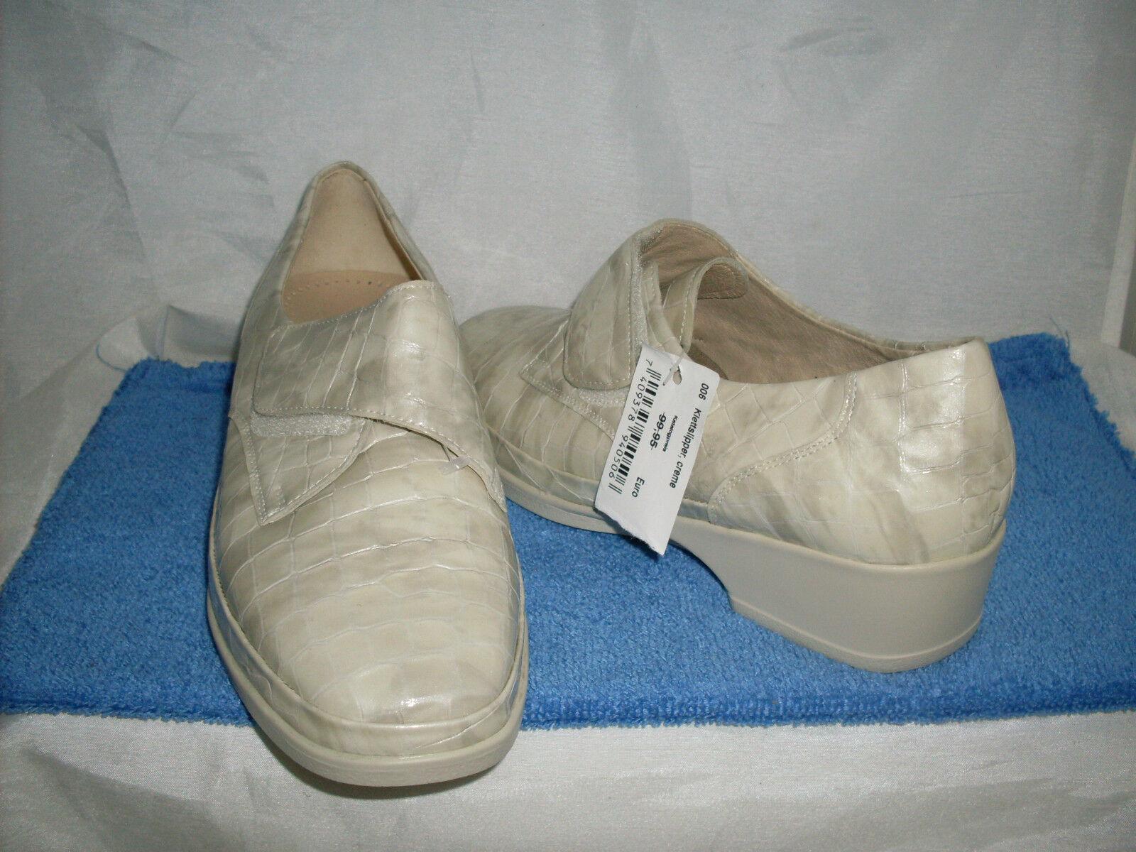 Scarpa da donna foresta alfiere Velcro Slipper Nuovo Taglia 8,5 42,5 G in CEME & pelle verniciata