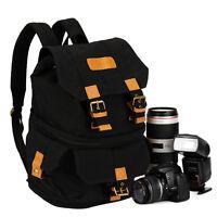 TARION Canvas Camera Case Bag Backpack for Canon Nikon Sony Panasonic DSLR Black